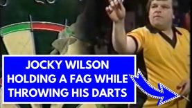 Jocky Wilson Holding A Fag While Throwing His Darts