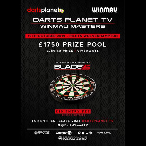 Darts Planet TV Winmau Masters Tournament Registration - Wolverhampton -  Rileys - 19th October 2019